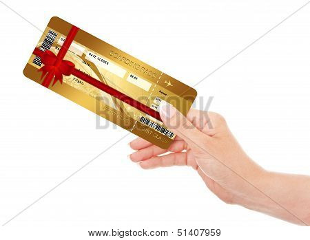 Hand Holding Airline Boarding Pass Ticket Isolated Over White