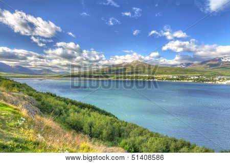 Akureyri Viewed From The Eastern Shore Of Eyjafjordur, Iceland