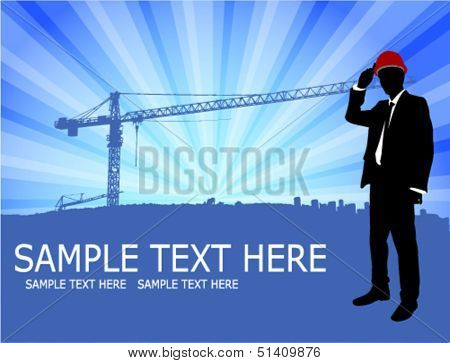 architect standing in front of abstract construction site background