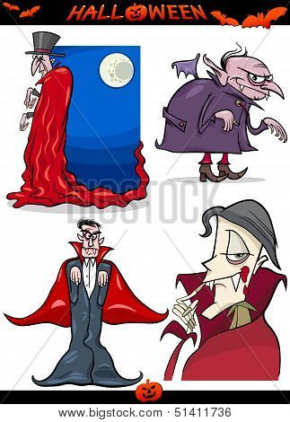 Halloween Cartoon Horror Themes Set