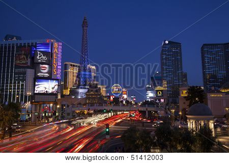 Las Vegas Boulevard At Night In Nevada On July 13, 2013
