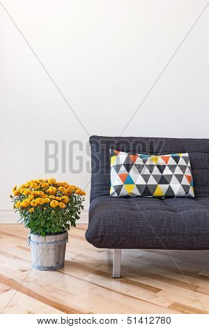 Orange Chrysanthemums And Sofa With Bright Cushion