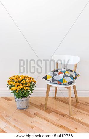 Orange Chrysanthemums Bright Cushion On A Chair