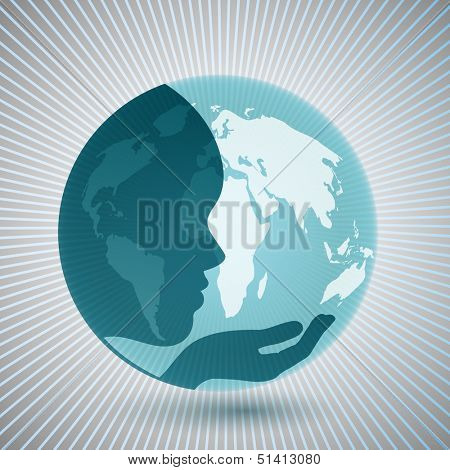 Mother earth concept face and hand superimposed over globe