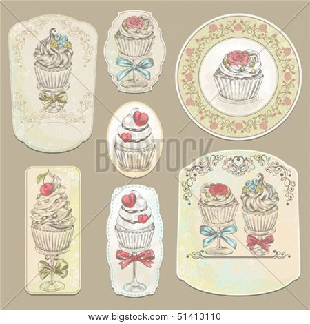 Collection of holidays vintage labels with cupcakes, vector illustration.
