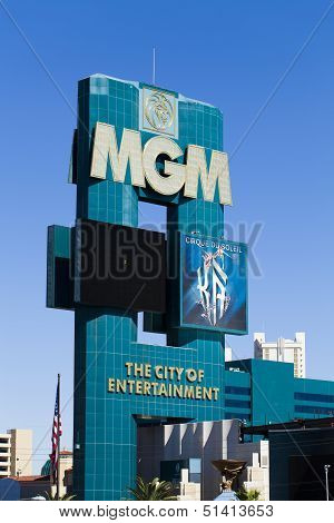 Mgm Grand Hotel Sign In Las Vegas, October 20, 2012.