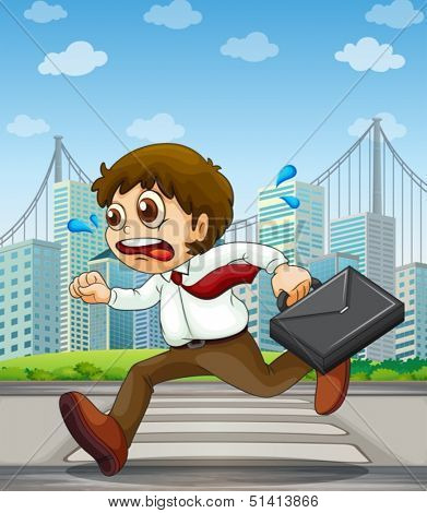 Illustration of a businessman running with a case in his hand