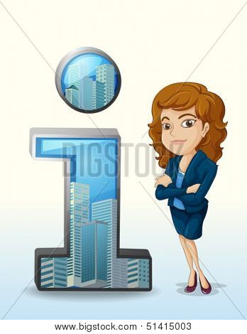 Illustration of a businesswoman with a pleasing personality beside the number one figure on a white background