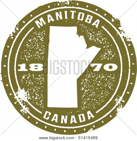 Vintage Style Manitoba Canada Stamp