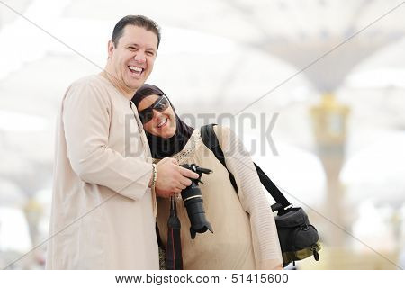 Muslim Arabic woman portrait outdoors in holy mosque