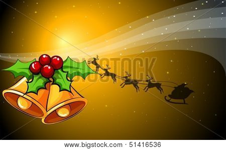 Illustration of a christmas card with bells and a sleigh with reindeers