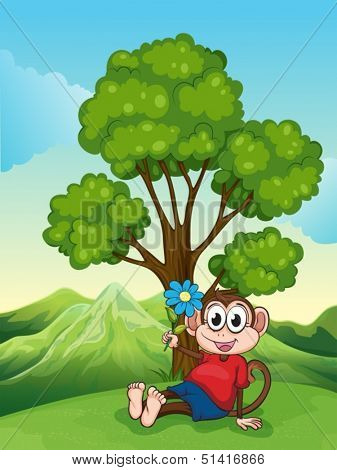 Illustration of a monkey with a flower sitting under the tree