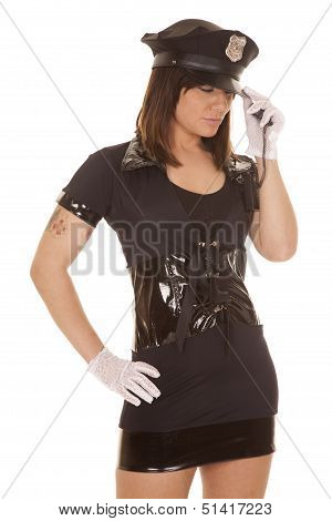 Woman Police Officer Hand Hat