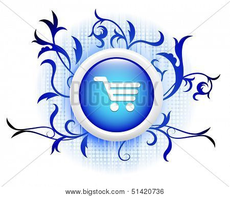 shoppingcart icon on blue decorative button