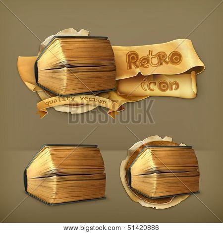Ancient book, vector icon
