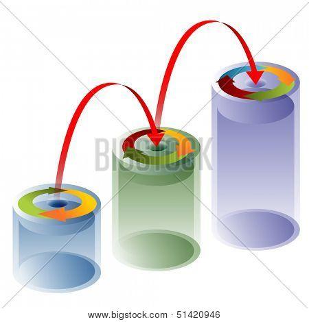 An image of a 3d process arrow tube chart.