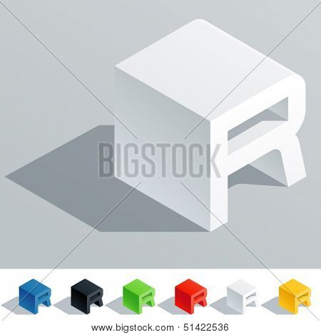 Vector illustration of solid colored letter in isometric view. Cube styled monospace characters. Symbol R