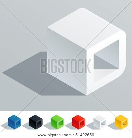 Vector illustration of solid colored letter in isometric view. Cube styled monospace characters. Symbol D