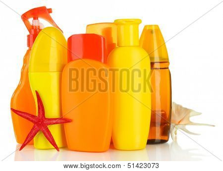 Bottles with suntan cream isolated on white