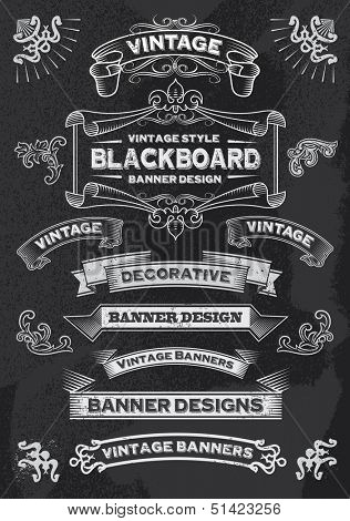 Hand drawn blackboard banner vector illustration with texture added. Chalkboard ribbon and banner design set for menus, greeting cards and festive occasions.