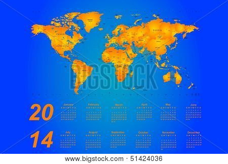 Timezone map - vector color calendar 2014