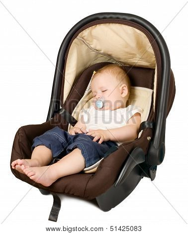 Boy In Car Seat, Safety Concept