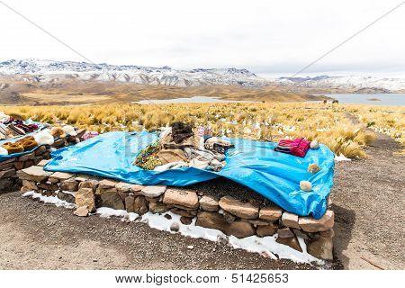 Market On Road Cusco-puno Near Lake Titicaca, Peru, South America. Colorful Blanket, Cap, Scarf, Clo