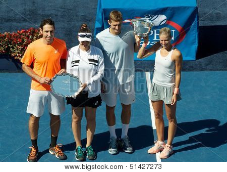 US Open2013 mixed doubles finalists S.Gonzalez and  A.Spears and champions M.Mirniy and A.Hlavackova