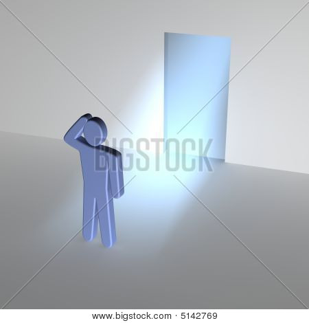 Man Thinking About Entrance To Unknown