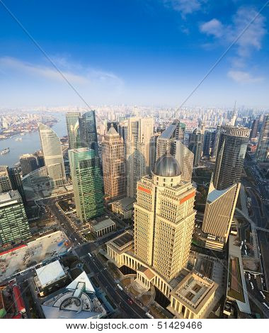 Aerial View Of Shanghai Under Blue Sky