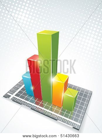 illustration of bar graph on glass