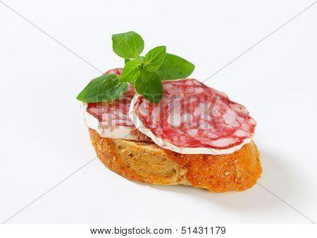 slice of saucisson sec with piece of bread