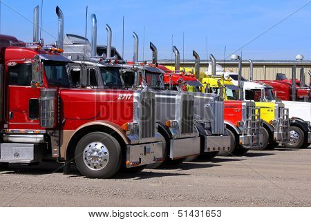 Panguitch,Utah - July 20: Row of Semi trailer trucks July 20, 2009 in Panguitch,Utah, There are about 5.6 million semi trailers registered for use in the U.S. three times the number of semi trucks.
