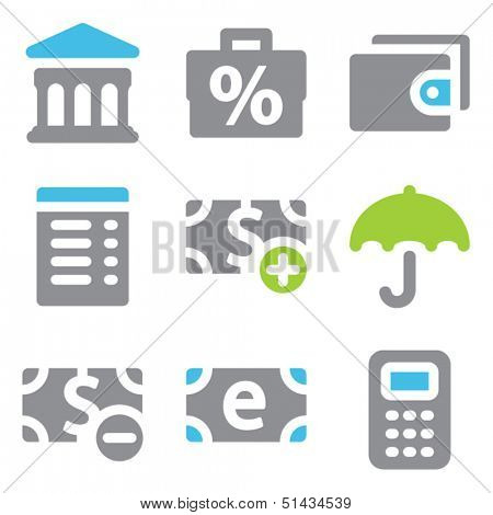 Finance web icons set 2 blue green series