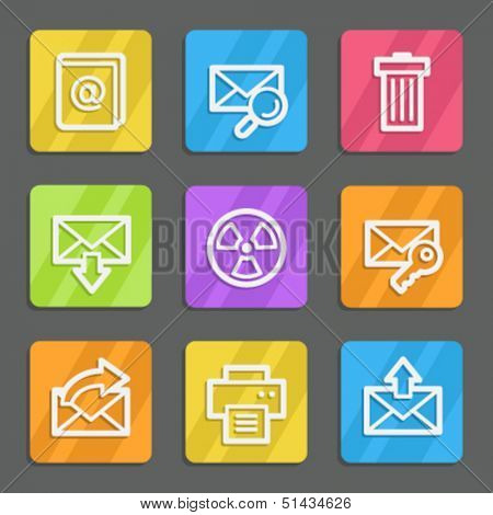E-mail web icons set 2, color flat buttons