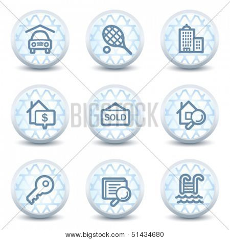 Real estate web icons, glossy circle buttons