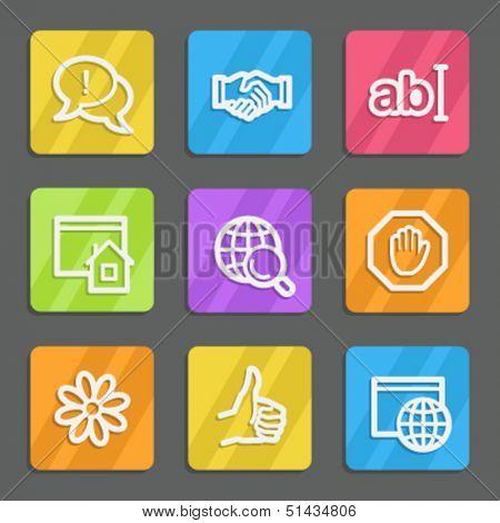 Internet web icons set 1, color flat buttons