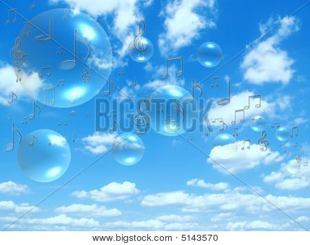 Music Notes And Bubbles On Sunny Sky