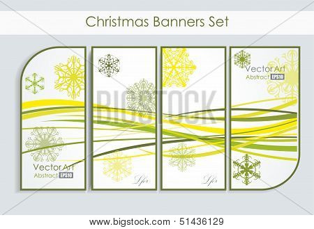 modern banners with snowflakes vector illustration