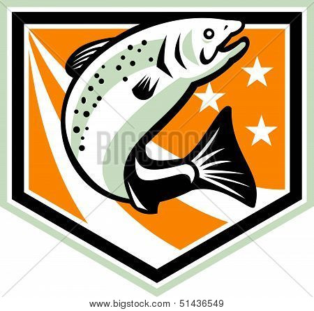 Trout Jumping Retro Shield