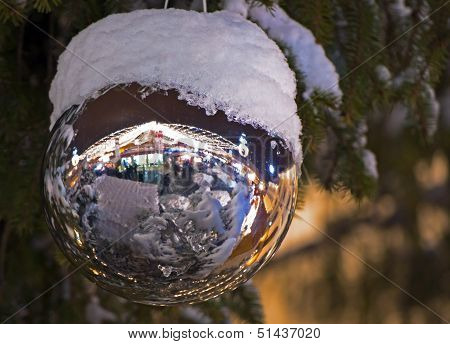 Christmas Ball In Green Tree