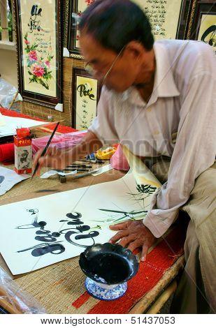 Calligrapher draw handwriting