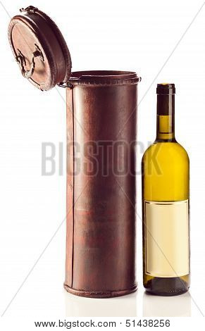 White Wine And Old Wooden Case