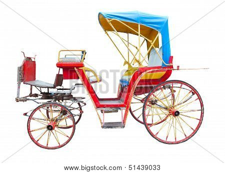 old horse drawn carriage isolated on white background
