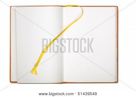 Blank Page  Note Book With Book Mark Isolated On White