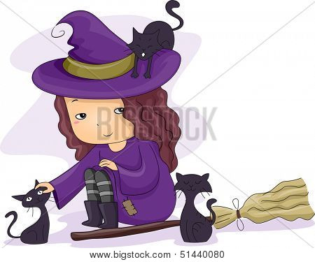 Halloween Illustration of a Little Girl Dressed as a Witch Playing with Black Cats