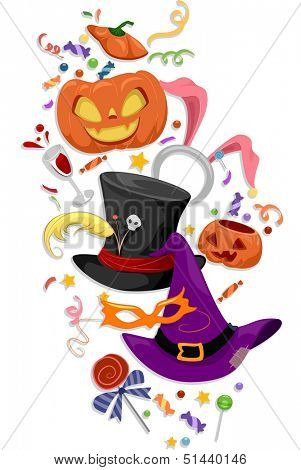 Illustration Featuring Famous Halloween Icons and Costumes