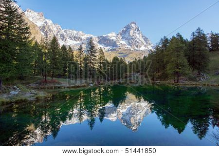 The Matterhorn and the blue lake