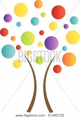 Abstract tree with colorful dots