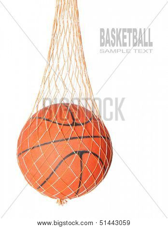 Basketball ball in a net isolated on white background.